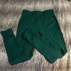 Ribbed Forest Green High-Waisted Workout Legging